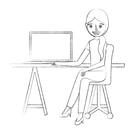 woman sitting in the office chair desk and computer vector illustration sketch