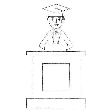 student in cap and gown graduation speech from a tribune stand vector illustration sketch