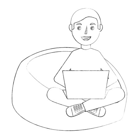 happy young man sitting bean bag in chair with laptop vector illustration sketch