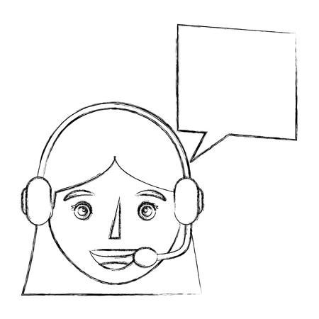 portrait woman operator using headset speech bubble vector illustration sketch