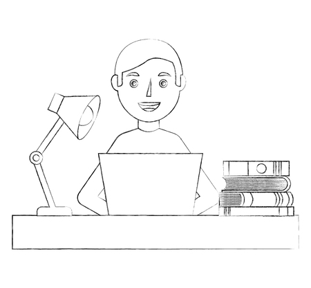 young man sitting at the desk with books laptop lamp vector illustration sketch Illustration