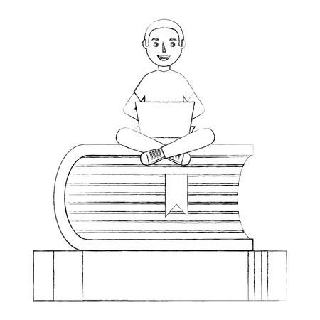 young man with computer sitting on a stack of books vector illustration sketch