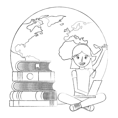 happy woman learning with books and laptop world vector illustration sketch