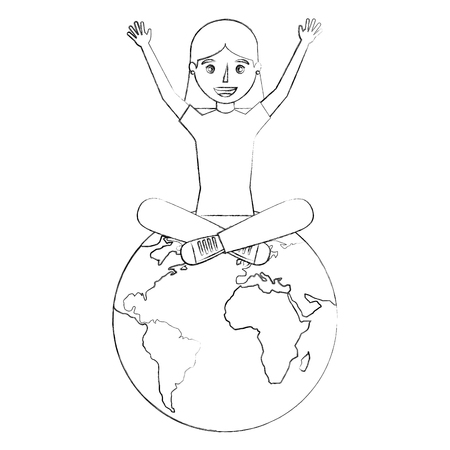 happy young woman sitting on world globe vector illustration sketch