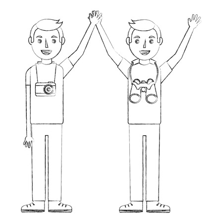 two happy young men raised hands with camera and binoculars vector illustration sketch Çizim