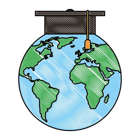 World planet earth with graduation hat vector illustration design Illustration