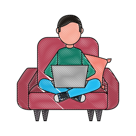 man with laptop in sofa character vector illustration design Foto de archivo - 100695549
