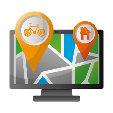 computer with map gps navigation bike route and home pointers vector illustration
