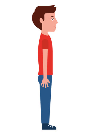 young man standing casual clothes side view vector illustration