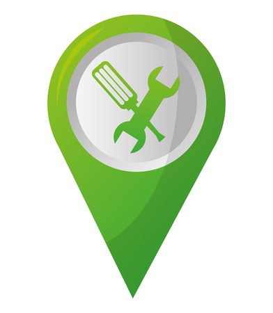 map pointer navigation with mechanic support tools vector illustration Çizim