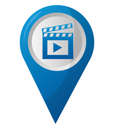 map pointer navigation with film clapperboard vector illustration Illustration