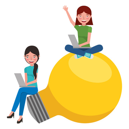Young girls sit on big bulb light idea study vector illustration.