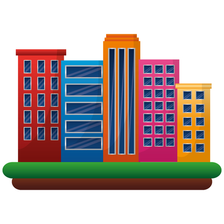 City urban buildings architecture image vector illustration.