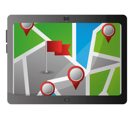 mobile gps navigation smartphone with flag pins on city map vector illustration  イラスト・ベクター素材