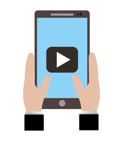 hand holds smartphone with video player button vector illustration Ilustração