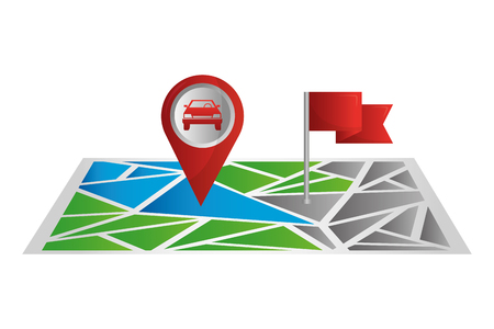 gps map navigation pointer car and flag marker vector illustration