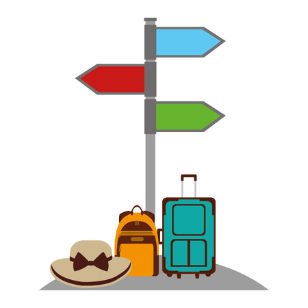 Arrows in stand location travel suitcase backpack and hat vector illustration. Ilustracja
