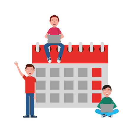 Happy group young people with laptops and calendar vector illustration.  イラスト・ベクター素材