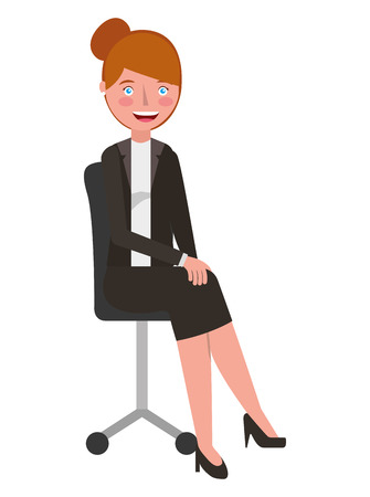 Woman sitting in the office chair vector illustration.