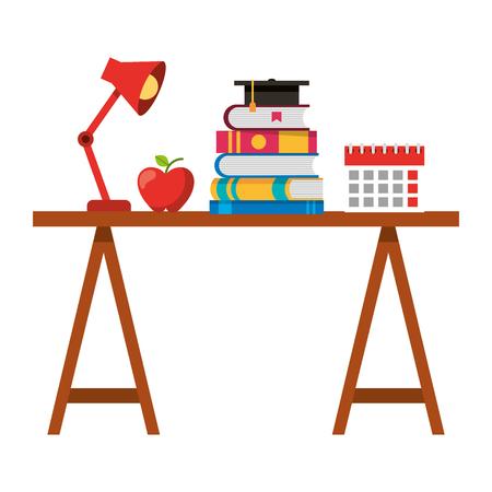 School desk stacked books calendar apple and lamp vector illustration.