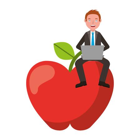 Man teacher with laptop sit on big apple vector illustration. Illustration