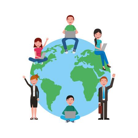 school students and teachers around world vector illustration