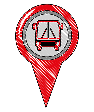 bus station pointer gps navigation location image vector illustration drawing Zdjęcie Seryjne - 100682756