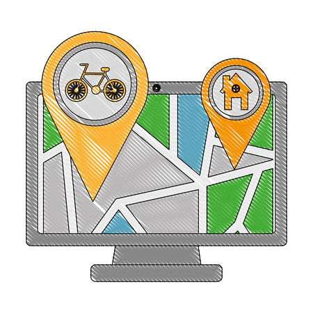 computer with map gps navigation bike route and home pointers vector illustration drawing Illustration
