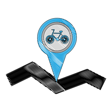 bicycle tracker route navigation mobile concept vector illustration drawing Illustration