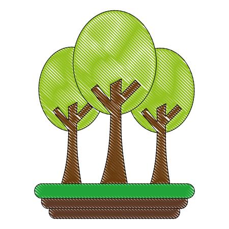 trees forest botanical natural image vector illustration drawing