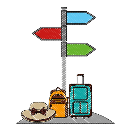 arrows in stand location travel suitcase backpack and hat vector illustration drawing Ilustracja