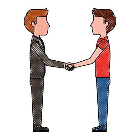 teacher and student boy hand shake vector illustration drawing Illustration