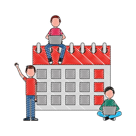 happy group young people with laptops and calendar vector illustration drawing