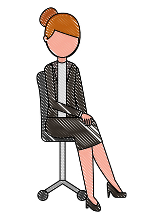 woman sitting in the office chair vector illustration drawing Stock Illustratie