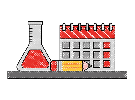school calendar test tube and pencil vector illustration drawing Ilustração