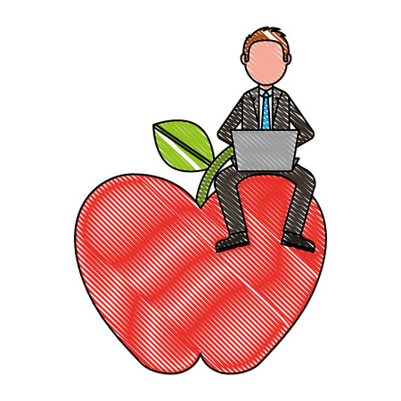 man teacher with laptop sit on big apple vector illustration drawing