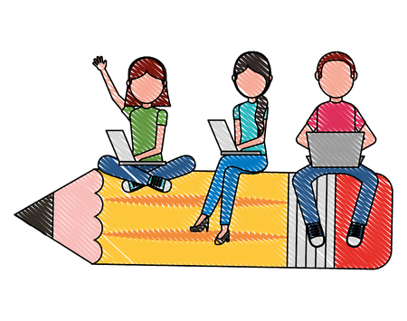 group students sit on school pencil with her laptops vector illustration drawing Illustration