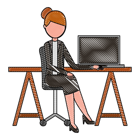 young woman sitting at the desk with laptop vector illustration drawing