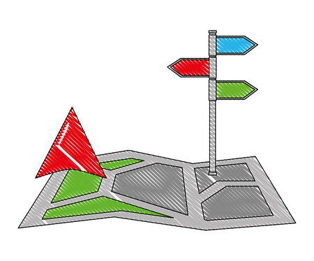 gps navigation map arrow and stand position image vector illustration drawing Vectores
