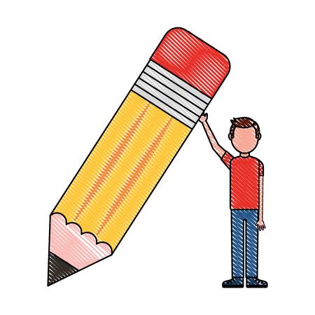 young man holds big wooden pencil school vector illustration drawing Ilustração