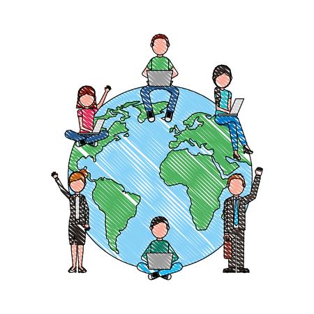 school students and teachers around world vector illustration drawing