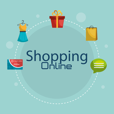 shopping online set icons vector illustration design