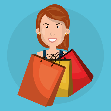 woman with shopping bags vector illustration design