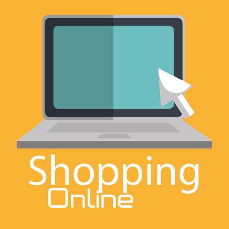 shopping online with laptop computer vector illustration design