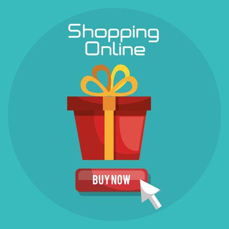 shopping online with gift box vector illustration design Ilustração