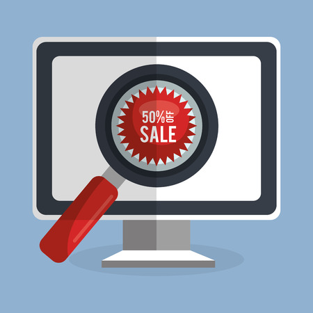 shopping online with computer vector illustration design