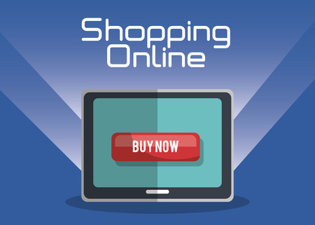 shopping online with tablet vector illustration design 向量圖像