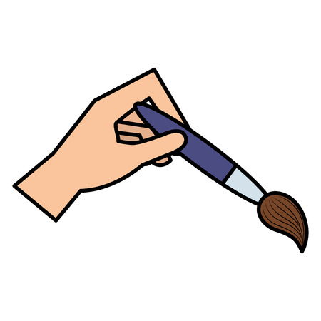 hand painting with brush tool icon vector illustration design