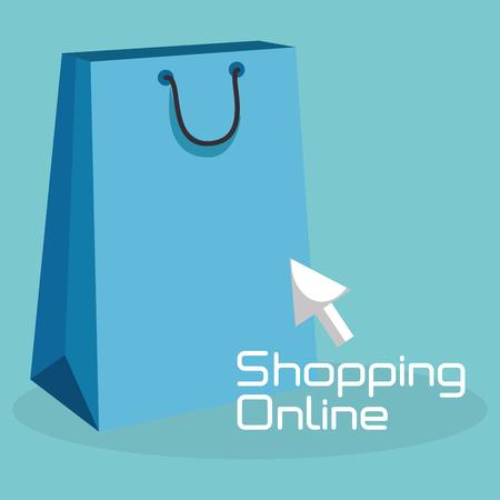 shopping online with bag vector illustration design Ilustração