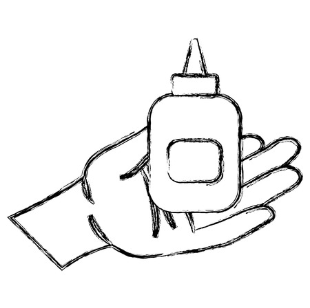 hand with glue bottle isolated icon vector illustration design